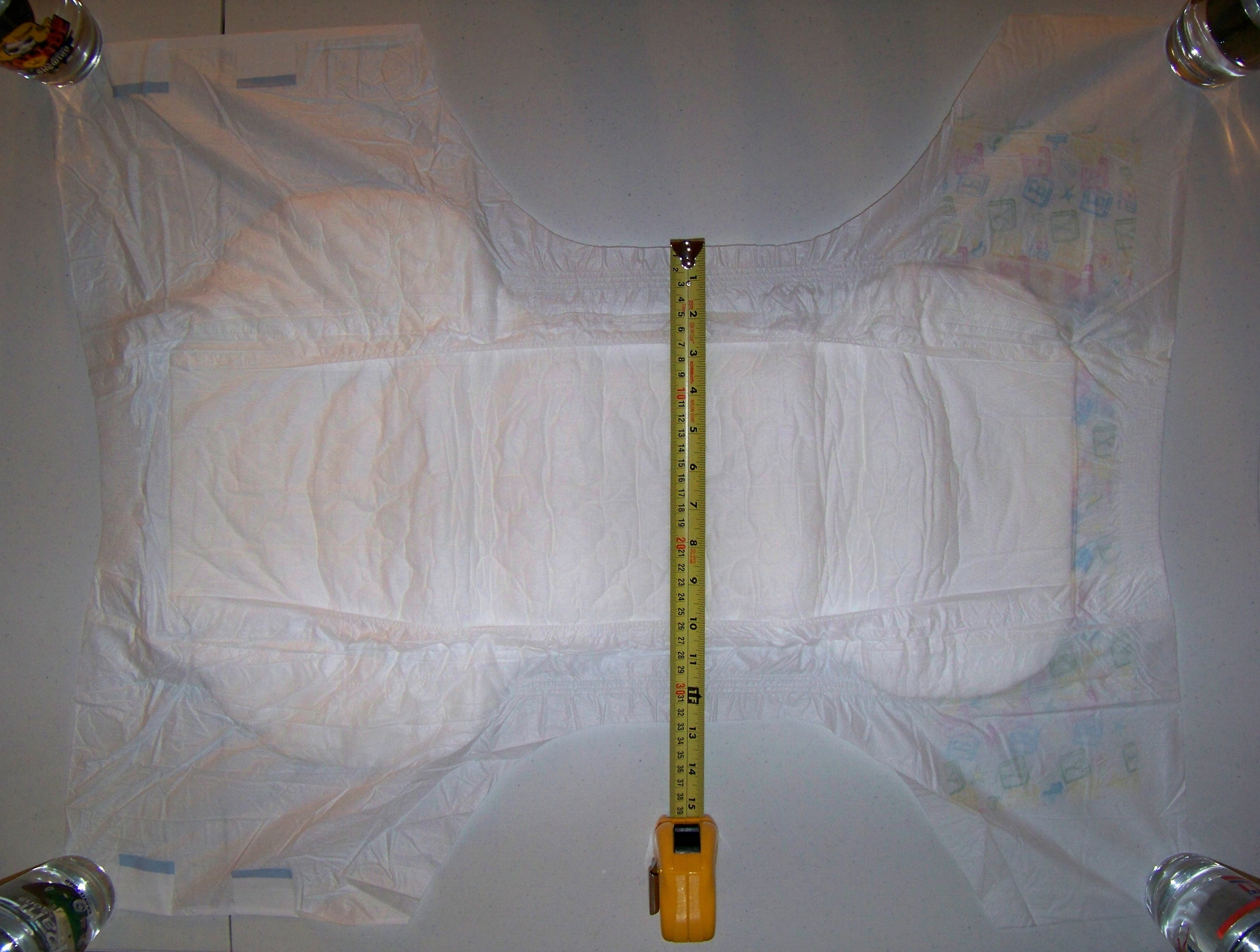 This is a longer diaper by about 5 cm (2 in) than my previous measurements,  but is otherwise similar.