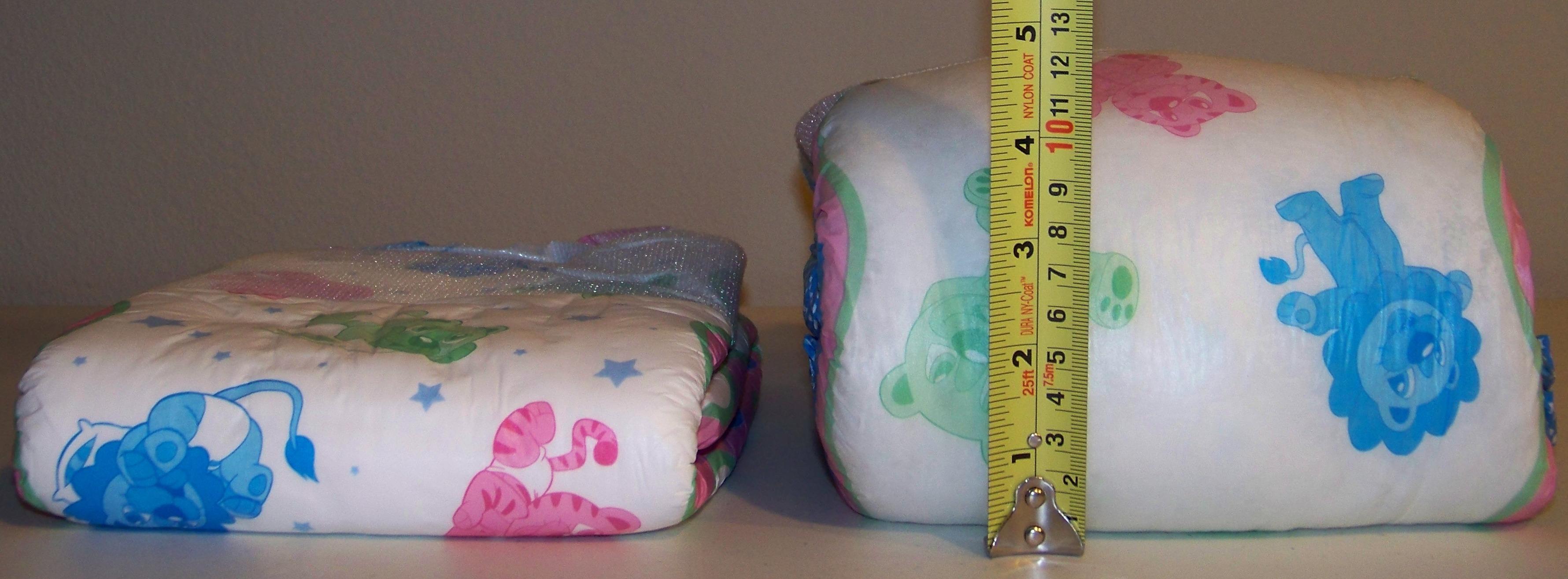 Dry Diaper Next to Full Diaper After Quantitative Test