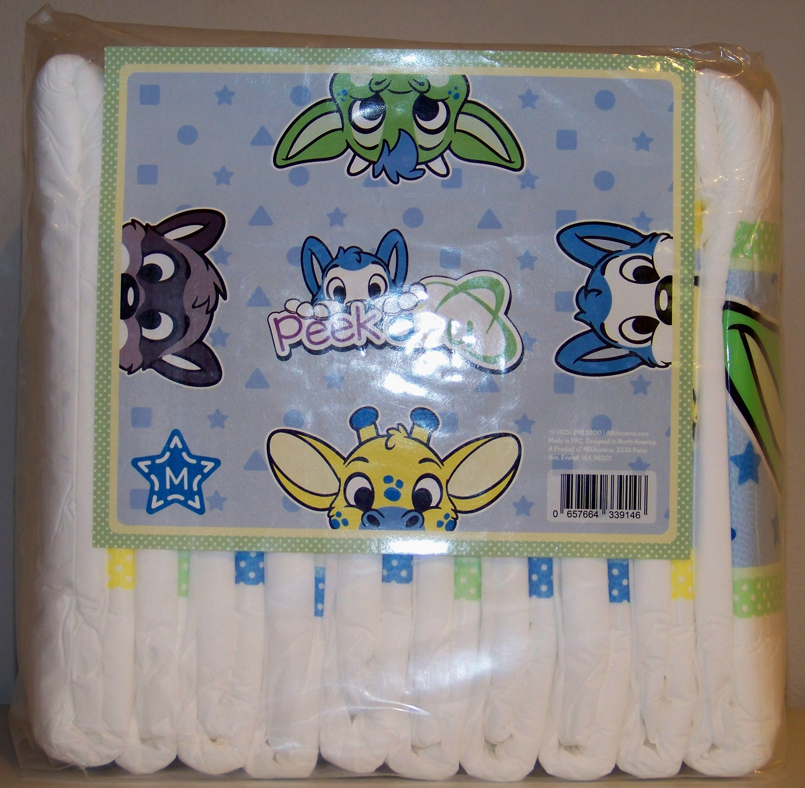 The panel has the 4 print characters peeking out from the 4 sides with the  diaper logo in the center.